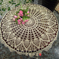 "US 31"" Round Hand Crochet Tablecloth Ecru Vintage Lace Table Cloth Floral Doily"