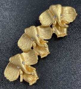 "Vintage Brooch Pin 2.5"" Elephant Figural Gold Tone"
