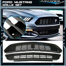 Fit 15-17 Ford Mustang GT/CS CA Special Upper & Lower Grille Grill Set Black