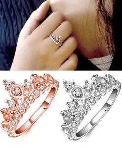 Damenring Rose Silber Krone Prinzessin Zirkonia Stein Glitzer Ring Verstellbar