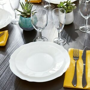 Arcopal By Luminarc Louis XV 18pc White Opal Glass Dinner Set Dinnerware Plates