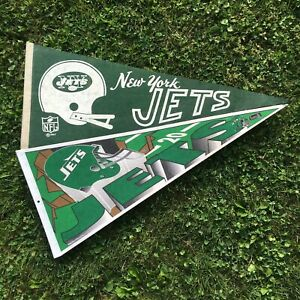 Vintage New York Jets Pennant Lot (2) 1967 & 1994 Ships Flat