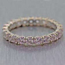 Vintage 18k White Gold 1.50ctw Pink Sapphire Eternity Wedding Band Ring C8
