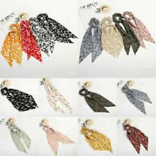 Women Elastic Hair Band Hair Scarf Hair Scrunchies Ties Floral Print Bow Ribbon