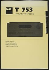 NAD T 753 original SON SURROUND receiver mode d'emploi/Owner's manual