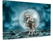 WILD WOLF DOG ANIMAL ABSTRACT FULL MOON CANVAS PICTURE PRINT CHUNKY FRAME #3672