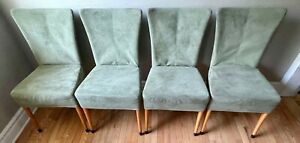 Two Giorgetti Giorgina Progetti chairs sage green suede beech wood 50930 Italy