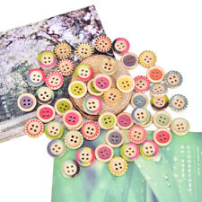 50pc 15mm Multi-color 4 Hole Color Round Wood Buttons Clothing Decor Sewing~BJ