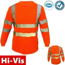High Visibility T Shirt Hi Vis Safety Orange ANSI Class 3 Reflective Long Sleeve
