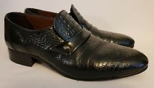 Grenson Footmaster Black Crocodile Skin Style Leather Slip On Shoes UK Size 7.5