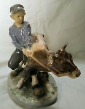 Royal Copenhagen #772 Young Boy With Cow Designed by Christian Thomsen Excellent