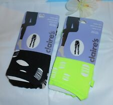 Claire's Two (2) Pairs Ripped Footless Tights Lime Green & Black M/LNWT