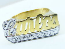 PERSONALIZED UNISEX 14K GOLD / SILVER FLAT NAME RING ANY NAME UP TO 7 LETTERS