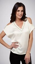 NEW Size 10-12 UCW BEADED OffWhite Cold Shoulder V Neck Summer Tunic Top RRP $89