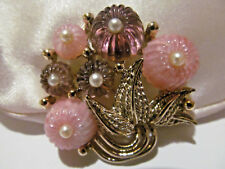 VTG RARE MARCEL BOUCHER SIGNED MARBOUX NUMBERED LUCITE PURPLE FLOWER BROOCH PIN