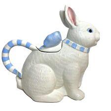 Vintage APPLAUSE Bunny Rabbit Teapot Pitcher W/Blue Check Handle & Bow Lid