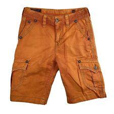 Rock Revival Orange Khaki Classic Cargo Shorts Size 30