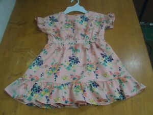 Janie and Jack Sweet Peach Floral Dress With Ruffle Sleeve & Hem-Sz. 4