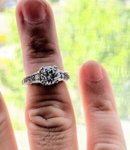 1.10 Carat TW Diamond Engagement Semi Mount with Milgrain in 18K White Gold