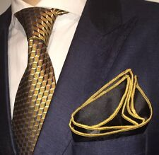 Pocket Square Handmade Black And Gold Stitch Border By Squaretrapny.com