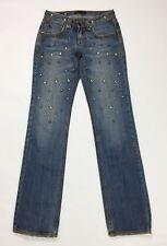 Ake jeans donna usato borchie fashion w26 tg 40 straight slim gamba dritta T3291