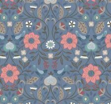 Lewis & Irene - 'Michaelmas' Little Bird Floral on Blue
