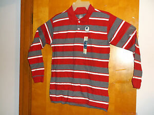 """BRAND NEW """"FADED GLORY BOY'S RED & GREY STRIPE 2 BUTTON FRONT COTTON POLO SHIRT"""