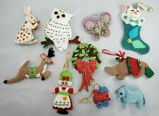 Mixed Lot of 10 Handmade Felt Sequin Christmas Ornaments Finished Vintage Modern