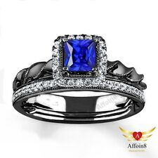 14k Black Gold Plating 1.15 Ct Sapphire & Diamonds Wedding Bridal Ring Band Set