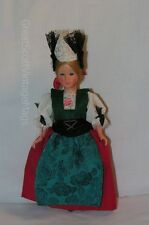 "Vintage 1950 French Costume Souvenir Doll Sleep Eyes Mohair  Red Skirt 7.5"" Tall"