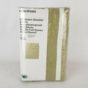 Ikea Kransrams Full/Queen Duvet Cover and 2 Pillowcases Green Stripe - New