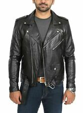 Men Genuine Lambskin Real Leather Jacket Biker Slim Zipper Motorcycle Black MX25