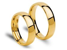 14K YELLOW GOLD WEDDING RINGS BANDS COURT POLISHED PLAIN SOLID 5MM HALLMARKED