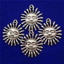 10Pcs Carved Tibetan Silver Sun Face 29x3mm Pendant Bead D18080602