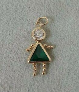 14K Gold Baby Girl May Birthstone Charm (Emerald Green) Child Kid Female