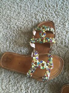 Moroccan handmade Leather Sandals with multicolored sequins.