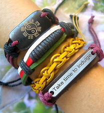 4 Men's I Ching Fengshui Take Time to Indulge Braided Leather Surfer Bracelets