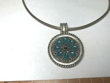 VINTAGE ANTIQUE  NECKLACE/CHOCKER WITH ENAMELED PENDANT
