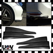 4PC Carbon Fiber Universal Bumper Corner Side Lip Scratch Protector Strap Guard