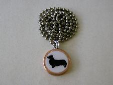 "Lucky Penny Pendant Pembroke Welsh Corgi Silhouette Charm Dogs 24"" Necklace"