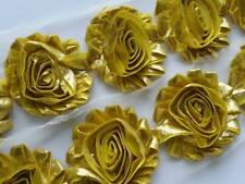 shabby flower , YELLOW metallic shabby rose trim,chiffon flower,headband supply