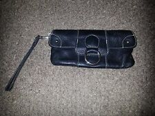 ROOTS CANADA-Black Leather Clutch/Wristlet-Excellent