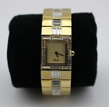 DOLCE & GABBANA D&G Gold Tone Rhinestone Crystal Baguette Watch New