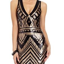 NWT bebe black copper v neck sequin mesh back top dress sparkly S small clubbing