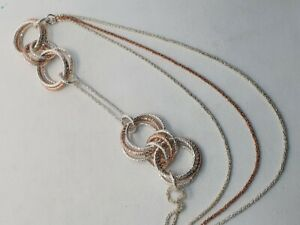 Links of London Aurora LONG Triple Link necklace silver gold vermeil 1day sale