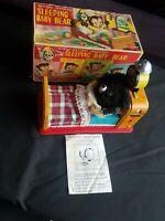1950's LINEMAR SLEEPING BABY BEAR BATTERY OPERATED TIN LITHO TOY JAPAN MIB
