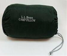 "Ll Bean Packable 18"" Camping Pillow Green Plaid w/ Travel Pouch"