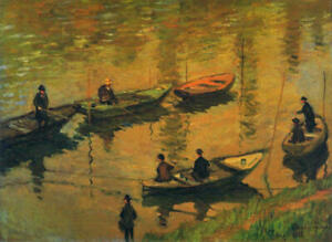 Diamond Painting Kit Anglers on the Seine at Poissy Claude Monet 1882 Painting