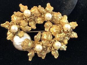 """Miriam Haskell Brooch Rare Vintage 2"""" Signed Gilt Pearl Flower Pin Brooch - Ex."""
