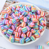 10x12mm Polymer Clay Cabochons Striped Jelly Drops Candy Sweets Crafts Decor 20x